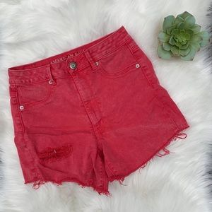 American Eagle Coral High Rise Cut Off Jean Shorts